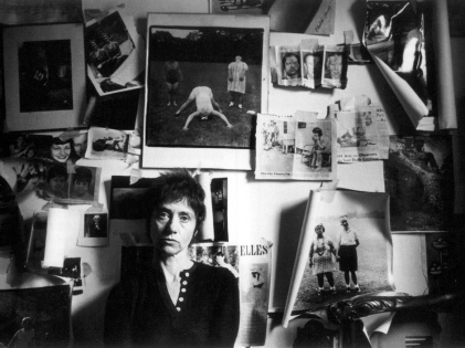 Books-Diane Arbus seated in front of her collage wall in her New York City apartment, where she committed suicide in July 1971. (Photo: Saul Leiter)