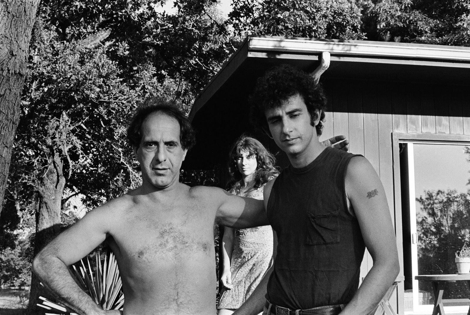 Robert Frank and the author, with Mary Frank in the background, Midway, Texas, 1968