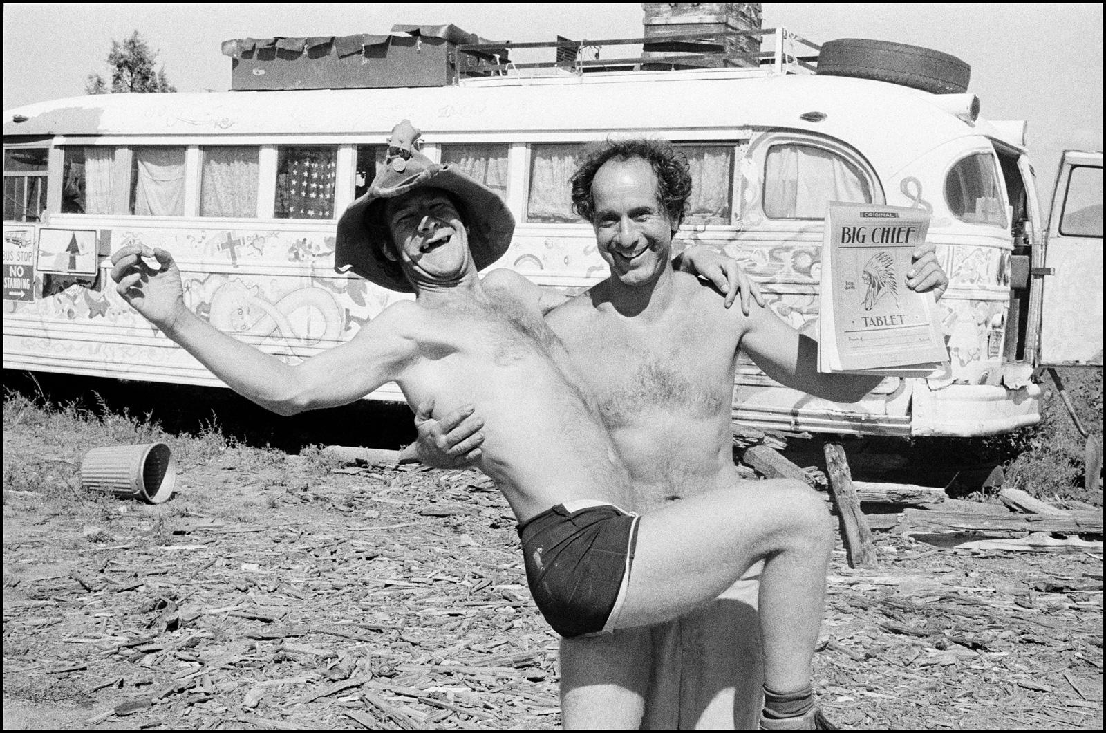 Wavy Gravy (Hugh Romney) and Robert Frank at the Hog Farm, Taos, New Mexico, 1969